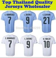 A+++ Top Thailand Uruguay Futbol Kit Thai World Cup 2014 Home Blue Soccer Jersey Football Shirt L.suarez E.cavani Custom