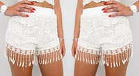 2014 Free shipping  Fashion lace fabric tassel shorts fit  TB 6295
