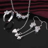 S672 New Arrival!925 Sterling silver jewelry set,fashion jewelry set hang heart bai CZ Ring+Earrings+necklace set,Wholesale set