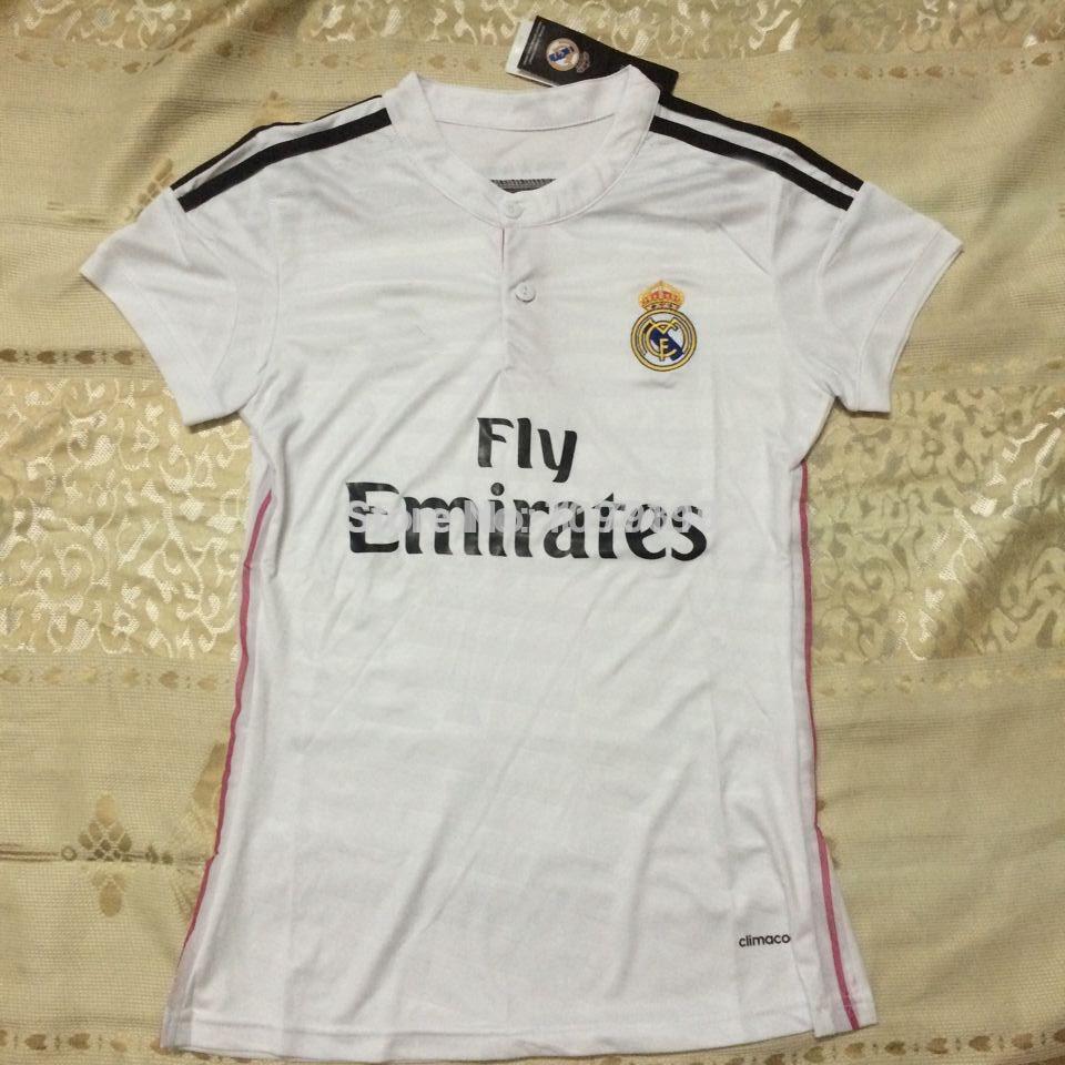 14/15 real madrid home women soccer jerseys thai 3AAA+ quality femal football shirts girl soccer uniforms lady soccer free ship(China (Mainland))