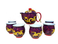 "Top Grade  Porcelain Tea  Sets Teapot + 6 Cups "" Dragon ( 18% millipede gold ) "" Ceramic Tea Cans"