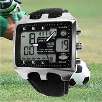 OHSEN AD0930 Genuine Quartz Analog Digital Sports Military Watch Leather Day Date Alarm Clock Men's Wristwatch - Black