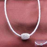 Hot New Fashion Jewelry White Braided Leather Sheepskin Chain Crystal Charm Rhinestone Chokers Necklace Wholesale Free Shipping