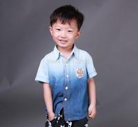 Hot New 2014 Baby Kids Spring Autumn Boys Cotton Denim t Shirts Children Car Print Shirts Short sleeve Casual Shirts Retail 06