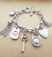 Quality fashion Brand crystal key lock charm bracelet letter bracelet