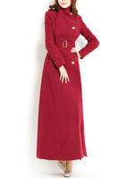 Autumn winter woman's elegant x-long woolen trench coat maxi coat ankle length coat plus size S-XXL