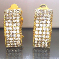 clip on earrings MOON 18K real gold tone BA-305 52 pcs crystals full sparkle made with AUSTRIA ziconia  2014