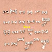 100 pcs/design New 2014 Fashion Super Shiny 3D Nail Jewelry Alloy Rhinestone DIY Metal Nail Art Charms Decoration Tools