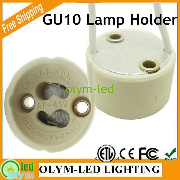 20Pcs Wholesale Hot Sale GU10 Halogen Lamp Holder, LED light GU10 Socket Ceramic base 15CM Wire connector Export Free Shipping(China (Mainland))