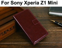 Z1 mini Stand Wallet PU Leather Case For Sony Xperia Z1 L39H Mini Phone cases bags Cover Retro Vintage Card Holder,Drop Shipping