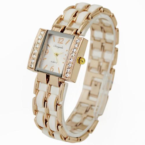 Hot Sale White Luxury Women's Ladies Girls Fashion Diamond Face Crystal Quartz Hours Jewelry Wrist Watches Clock, Free Shipping(China (Mainland))