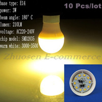 10 Pcs/lot Free Shipping E14 10 SMD 2835 LED Warm White AC220V-240V 3W Energy-saving Spot Light Bulb LEDQP031