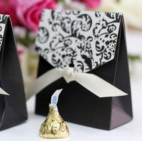 50pcs/lot Wedding Favor gift candy boxes Europe Style Black Paper Box with Ribbon