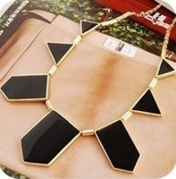 Fashion women Hot & Black geometrical irregular pendant necklace + Free Shipping