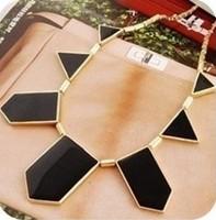 Fashion women Hot & Black geometrical irregular pendant necklace + Free Shipping