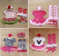 4pcs Newborn Infant Baby Girls Headband+Romper+Leg Warmers+Shoes Outfits & Sets