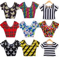 New 2014 Fashion Cap Sleeve Crop Top summer cartoon t shirts sexy women shirts punk Free Shipping