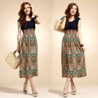 Drop Shipping 2014 Spring Summer Fashion Long Bohemian Maxi Dress Retro Print Sleeveless Chiffon Vest  Dress