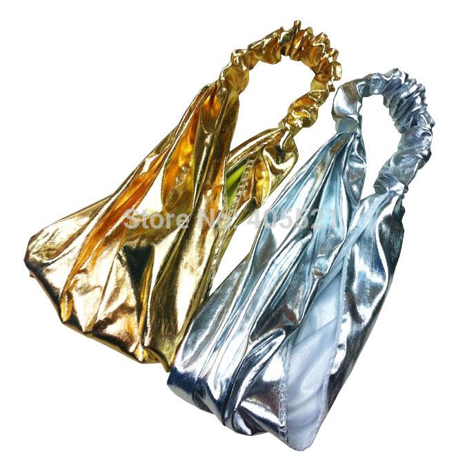 Metalic headband head wrap band chemo bandanas gold and silver color(China (Mainland))