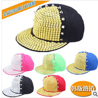 2014 han edition sequins pyramid rivets baseball cap sell like hot cakes Hip-hop style