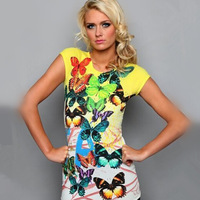 New 2014 women's sexy style t-shirt Women casual short sleeve t shirt cotton plus size print butterfly cute t-shirt 8534