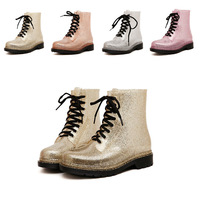 Fashion sweet golden short rain boots jelly rainboots rubber shoes water shoes overstrung martin boots