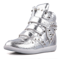 Height increasing Women sneakers shoes Metal bling dance shoes flat velcro elevator sports casual high-top shoes female