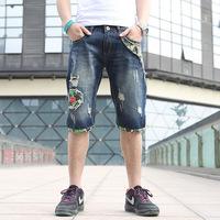2014 summer Male denim shorts men's straight hole men's denim clothing denim capris hole jeans