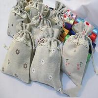 14.5x20.5CM Big Size Vintage Style Eco Friendly Cotton Hemp Fabric Jewelry Candy Cosmetic  Storage Bag Mix Color Wholesale