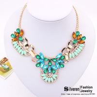 2014 New Arrival Luxury multicolor Fashion Necklace Chain Chunky Choker Statement Necklace & Pendant Women (Silveren NE100777)