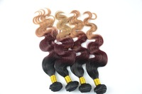Free shipping 3 toned ombre malaysian hair,black/red/blonde ombre three tone hair exrensions virgin malaysian hair weave bundles