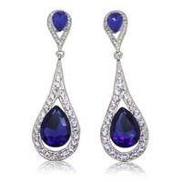 Free Shipping, 2014 of The Latest Trendy Blue Rhinestone Earrings Women Long Earrings Best Gift