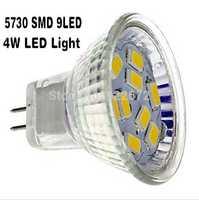 5pcs/lot  Free shipping New MR11 GU4 Led Lamps 4W 9LED 5730SMD LED Bulbs Spotlight Warm White /White Light LED Spot Bulb 12V