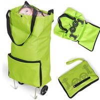 Foldable Shopping Bag Handbag New 2014 Folding Women Travel Bags On Wheels Eco Oxford Fabric Bag Shopping Big Green Custom Logo
