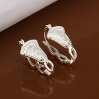 korean jewelry earrings 2014 silver zircon earring hoops cheap earings promotional sale free shipping LKNSPCE389