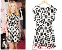 2014 free shipping new women sleeveless plaid pattern summer beautiful dress women knee-length dress