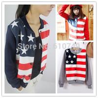 Free shipping Sport suit Women 2014 Sweatshirt Stars and Stripes print cartoon stand collar baseball uniform lovers sweatshirt