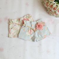 2015 New,girls summer floral shorts,children denim shorts,cotton,sashes,pink/blue,2-6 yrs,5 pcs / lot,wholesale,1307