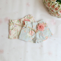 2014 New,girls summer floral shorts,children denim shorts,cotton,sashes,pink/blue,2-6 yrs,5 pcs / lot,wholesale,1307