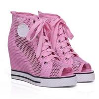 Peep Toe Summer High Wedge Sneaker,Lace Up Women Sneaker 2014,Genuine leather brand sneaker