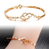 New fashion Simple style 18K Gold Plated charm bracelets  AAA Quality Zircon Heart  Bracelet For Women 412