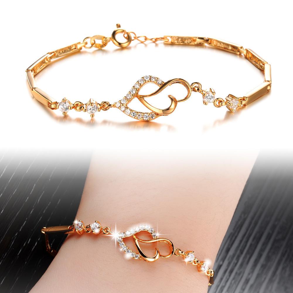 2014 Hot Selling Heart Shaped Bracelets 18K Gold Plated Austrian Crystal Bracelet & Bangle For Women Free Shipping Wholesale(China (Mainland))