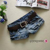 2014 hole retro washed women denim shorts,low waist jeans shorts for lady,denim pants free shipping JF55c