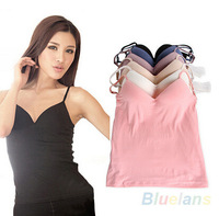 Fashion Modal Adjustable Strap Built In Bra Padded Self Mold Bra Tank & Tees Top Camisole Camis Women