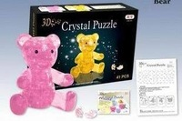 Free Shipping 3D Crystal Bear Puzzle IQ Furnish Gadget Jigsaw Pink 3DP