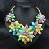 Wholesale Fashion Women Colar Costume Accessories Multicolor Flower Choker statement Pendant necklace for christmas gift