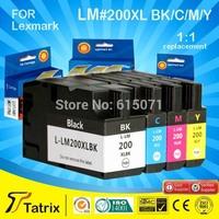 For lexmark 200 XL BK/C/M/Y compatible ink cartridge for lexmark 200 XL with chip for Lexmark OfficeEdge Pro4000c/Pro4000