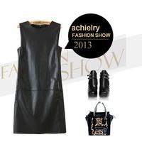 Fashion  Women Ladies'  PU  Bandage Dress  Leather  Sexy Party Bodycon  Clubwear  Black Female skin render dress