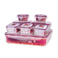 Good Quality 8PCS Air Proof Crispers Set BPA FREE PP Microwave Food Crisper Set Safe Silicone Ring Food Preservation Box Set