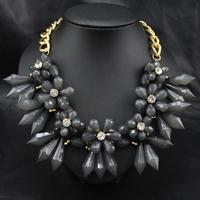 Aliexpress Wholesale New 2014 Fashion Women Costume Party Gift Flower Grey Acrylic Choker statement Pendant necklace